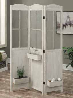 Coaster Folding Screens Three Panel Vintage Screen with White Finish