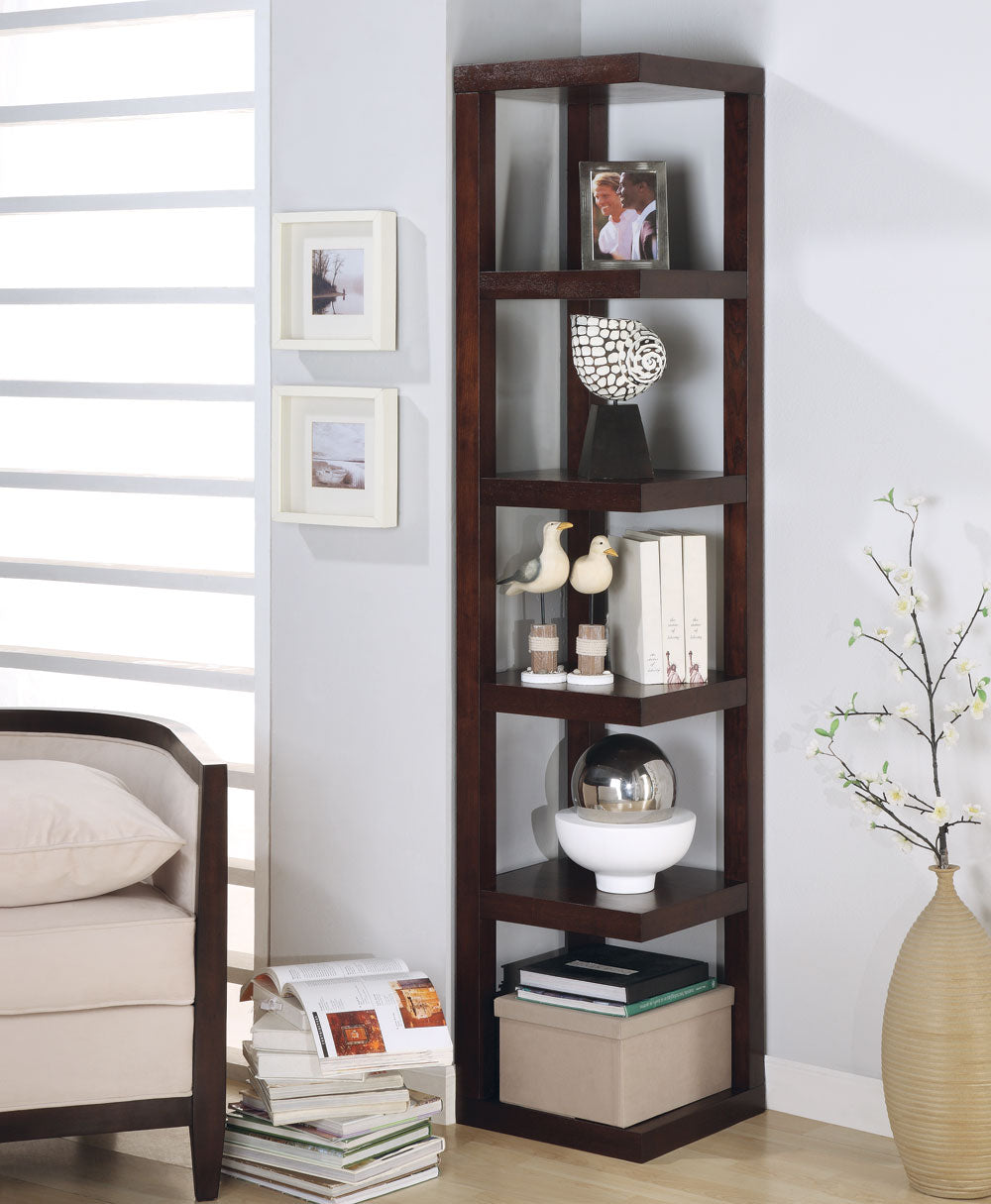 Coaster Bookcases Contemporary Corner Bookcase