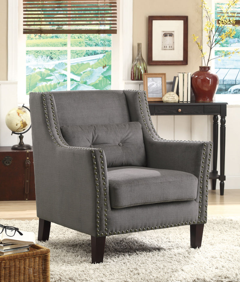 Coaster Accent Seating Accent Chair with Nailhead Trim and Accent Pillow