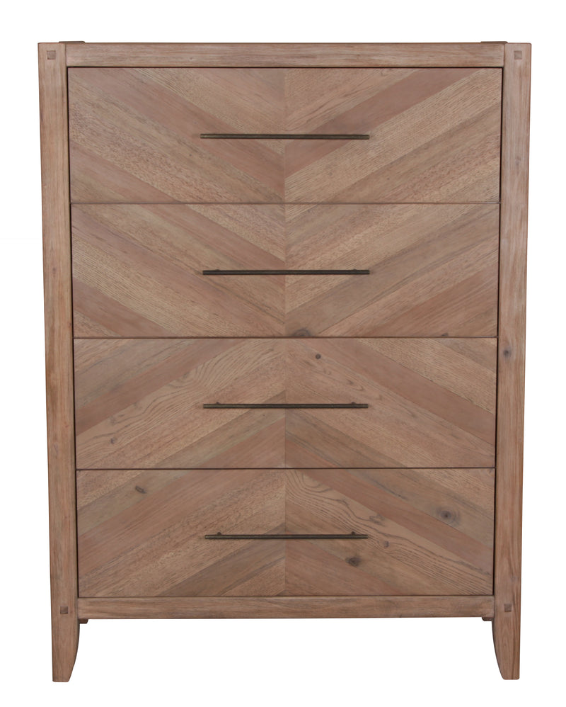 Coaster Auburn Four Drawer Chest with Chevron Inlay Design