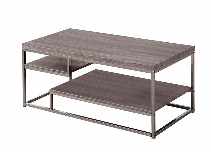 Coaster 7037 2 Shelf Coffee Table with Wood Top and Chrome Frame
