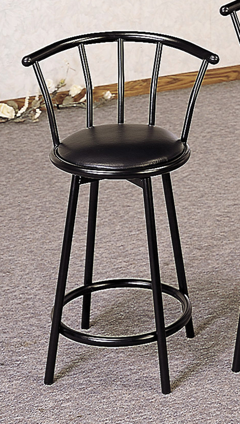 "Coaster Buckner 24"" Metal Bar Stool with Faux Leather Swivel Seat"