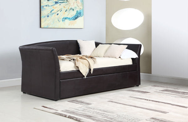 Coaster Upholstered Twin Daybed With Trundle Dark Brown