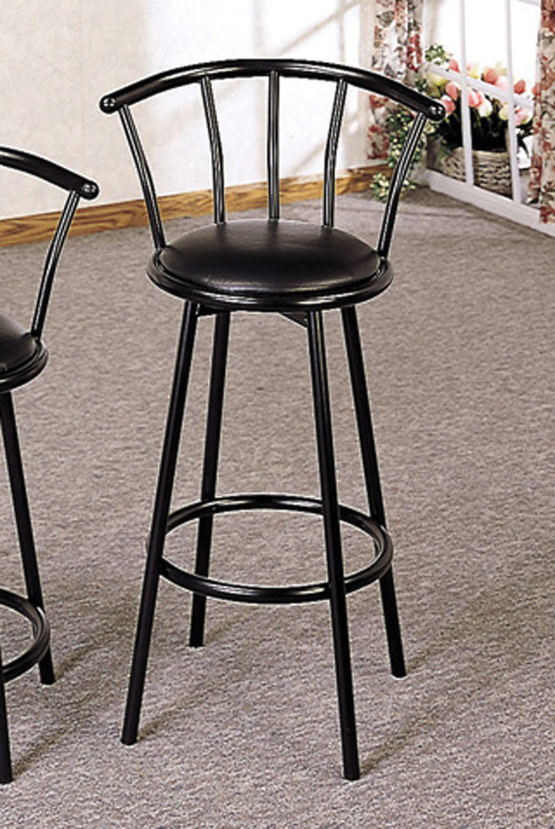 "Coaster Buckner 29"" Casual Metal Bar Stool with Faux Leather Swivel Seat"