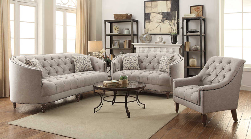 Coaster Avonlea C-Shaped Sofa with Button Tufting and Nailhead Trim