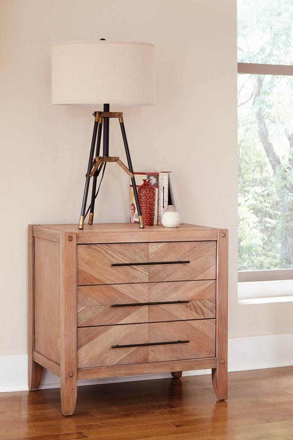 Coaster Auburn Nightstand with Chevron Inlay Design and USB Ports