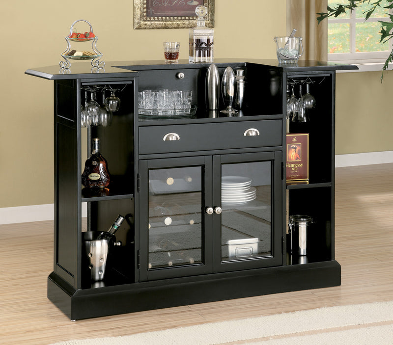 Coaster Inwood Contemporary Bar with Wine Rack and Stemware Storage