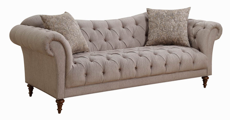 Coaster Alasdair Sofa with Button Tufting and Rolled Arms