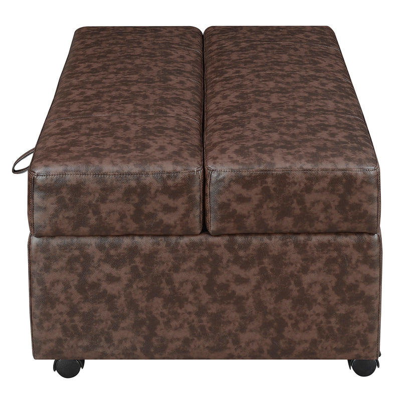 Coaster Benches Brown Upholstered Bench with Fold Out Sleeper & Casters