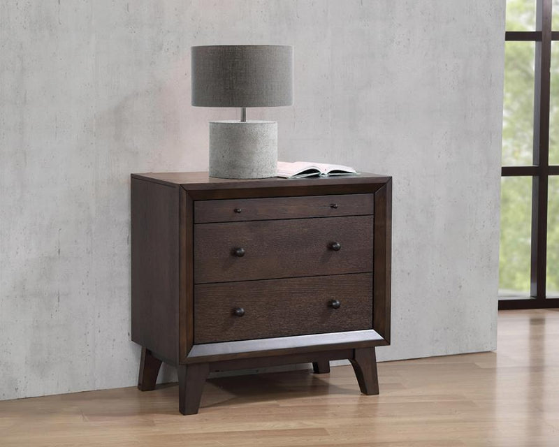 Coaster Bingham 3 Drawer Night Stand with Top Felt-Lined Drawer