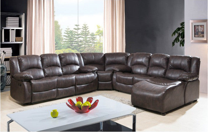 Mcferran SF4591 Leather 4 Piece Sectional Sofa