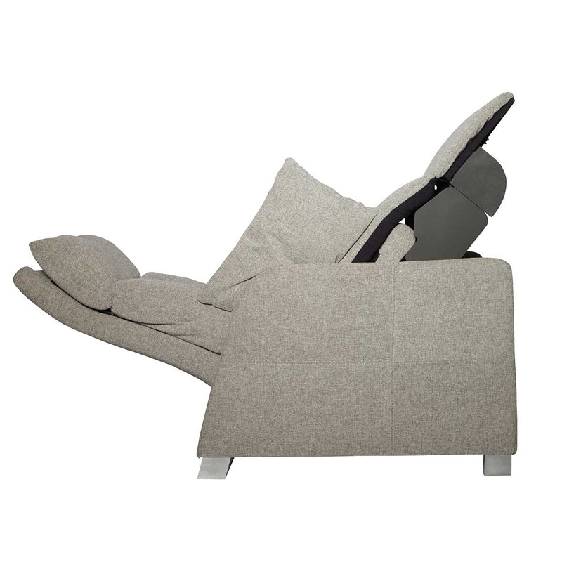positive posture sora recliner oatmeal side view full recline