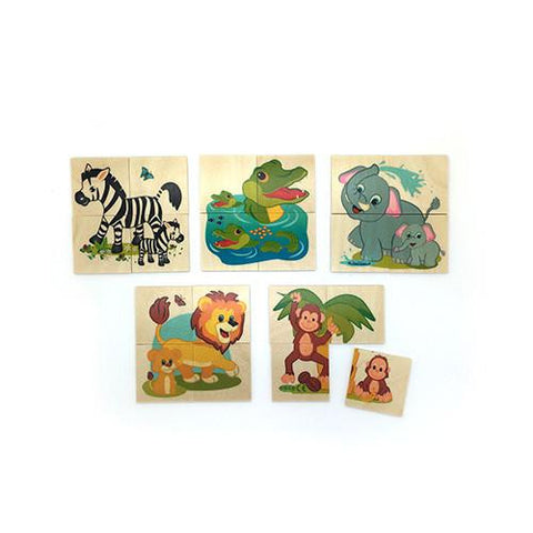 5 Mini Animal Puzzles-Peaches & Eaches-Developmental toys for babies, infants and toddlers. Sustainably sourced, gender neutral, wooden baby toys.