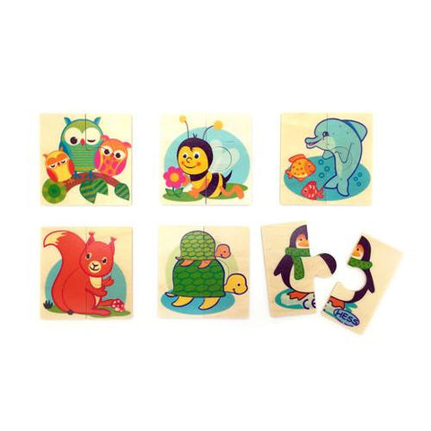 6 Mini Animal Puzzles-Hess-Developmental toys for babies, infants and toddlers. Sustainably sourced, gender neutral, wooden baby toys.
