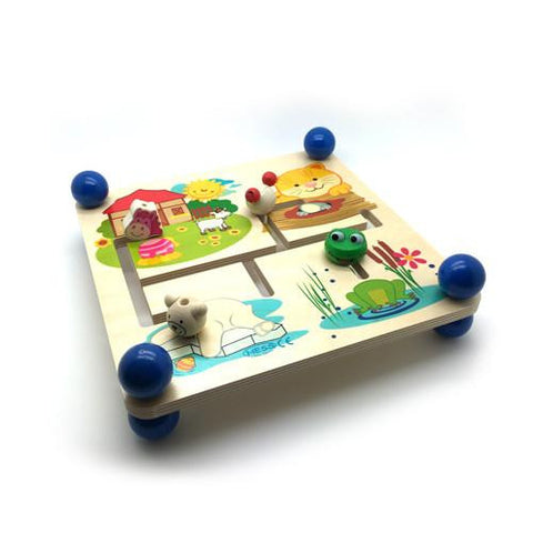 Animal Motorskills Board-Hess-Developmental toys for babies, infants and toddlers. Sustainably sourced, gender neutral, wooden baby toys.