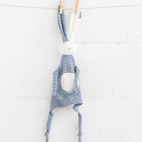 Blue Stripey Bunny Snuggler-Aciu Paciu-Developmental toys for babies, infants and toddlers. Sustainably sourced, gender neutral, wooden baby toys.
