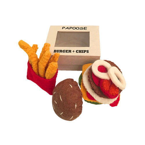Burger and Chips Felt Play-Food Set.-Papoose Toys-Developmental toys for babies, infants and toddlers. Sustainably sourced, gender neutral, wooden baby toys.