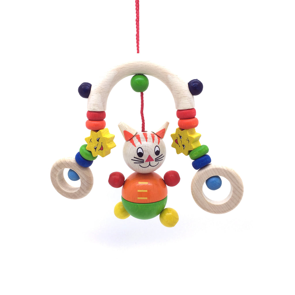 Cat Trapeze Clip-On Toy-Hess-Developmental toys for babies, infants and toddlers. Sustainably sourced, gender neutral, wooden baby toys.