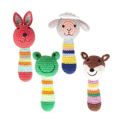 Crochet Country Animal Rattles-Global Affairs-Developmental toys for babies, infants and toddlers. Sustainably sourced, gender neutral, wooden baby toys.