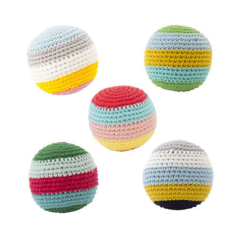 Crochet Striped Balls, with Beep (Set of 5)-Global Affairs-Developmental toys for babies, infants and toddlers. Sustainably sourced, gender neutral, wooden baby toys.