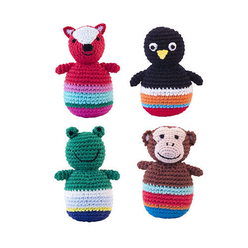 Crochet Tumbler Animals-Global Affairs-Developmental toys for babies, infants and toddlers. Sustainably sourced, gender neutral, wooden baby toys.