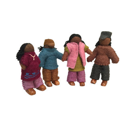 Family of 4 Dolls- African-Papoose Toys-Developmental toys for babies, infants and toddlers. Sustainably sourced, gender neutral, wooden baby toys.