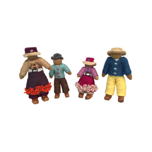 Family of 4 Dolls- Asian-Papoose Toys-Developmental toys for babies, infants and toddlers. Sustainably sourced, gender neutral, wooden baby toys.