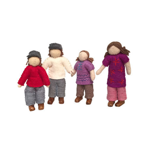 Family of 4 Dolls- Caucasian-Papoose Toys-Developmental toys for babies, infants and toddlers. Sustainably sourced, gender neutral, wooden baby toys.