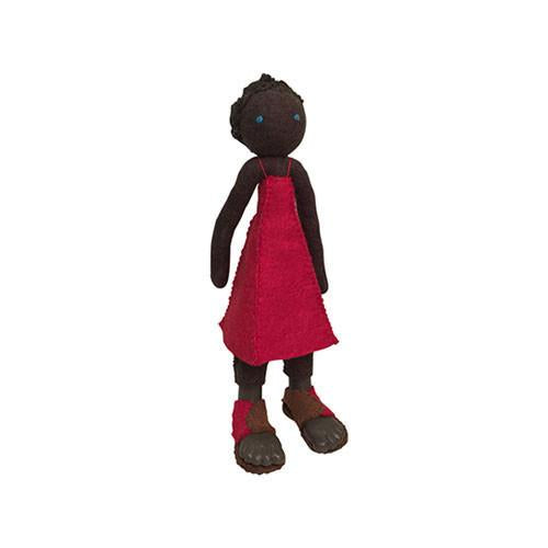 Felt Doll- Ngozi from Nigeria-Papoose Toys-Developmental toys for babies, infants and toddlers. Sustainably sourced, gender neutral, wooden baby toys.