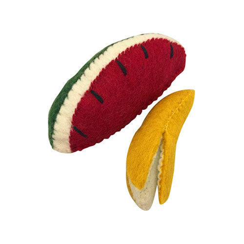 Felt Fruit Duo- Banana and Watermelon Slice-Papoose Toys-Developmental toys for babies, infants and toddlers. Sustainably sourced, gender neutral, wooden baby toys.