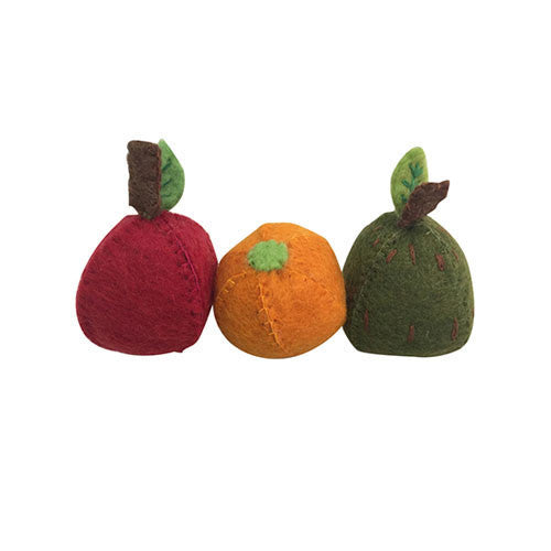 Felt Fruit Trio- Apple, Orange and Pear-Papoose Toys-Developmental toys for babies, infants and toddlers. Sustainably sourced, gender neutral, wooden baby toys.