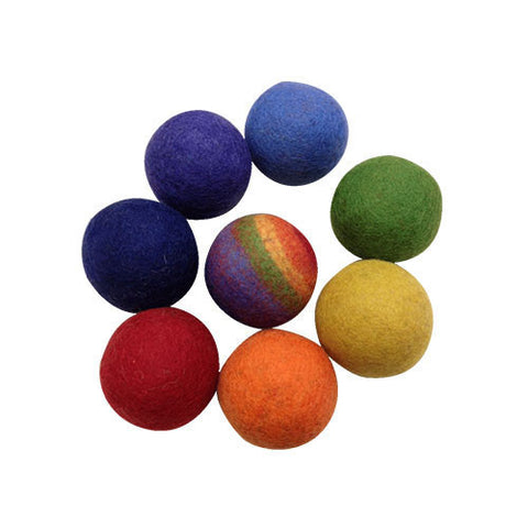 Felt Rainbow Ball Game- Set of 8-Papoose Toys-Developmental toys for babies, infants and toddlers. Sustainably sourced, gender neutral, wooden baby toys.