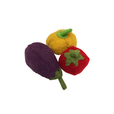 Felt Vegetable Trio- Pepper, Aubergine and Tomato-Papoose Toys-Developmental toys for babies, infants and toddlers. Sustainably sourced, gender neutral, wooden baby toys.