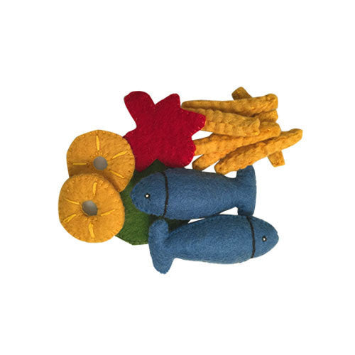 Fish and Chips Felt Play-Food Set-Papoose Toys-Developmental toys for babies, infants and toddlers. Sustainably sourced, gender neutral, wooden baby toys.
