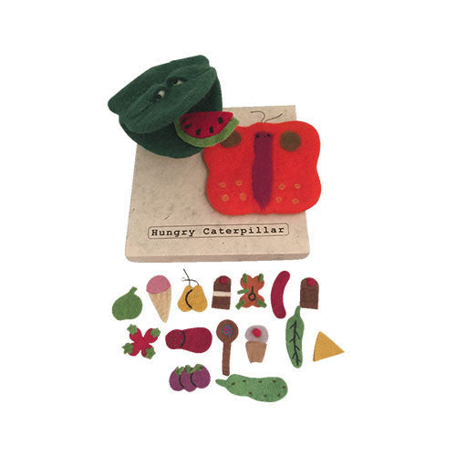 The Hungry Caterpillar Story, Puppet and Food-Papoose Toys-Developmental toys for babies, infants and toddlers. Sustainably sourced, gender neutral, wooden baby toys.