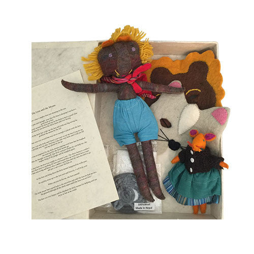 The Lion and The Mouse Story and Puppets (Aesop's Fable)-Papoose Toys-Developmental toys for babies, infants and toddlers. Sustainably sourced, gender neutral, wooden baby toys.
