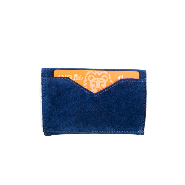 portcard piele naturala bleumarine navy plic inchidere velcro lateral
