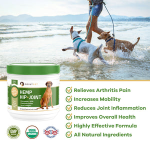 Hip & Joint Supplement for Dogs with Glucosamine, Chondroitin, MSM & Organic Hemp