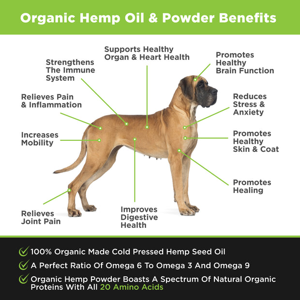 Stress & Anxiety Support for Dogs with Organic Hemp, Omega 3, 6 & 9