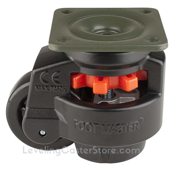 "Leveling Casters | FootMaster GD-100F-BLK | Top Plate Mount with 3"" Wheel & 1,650 Lb Capacity"