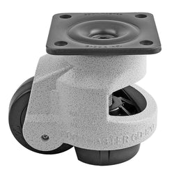 "Leveling Casters | FootMaster GD-120F | Top Plate Mount with 3"" Wheel & 2,200 Lb Capacity"