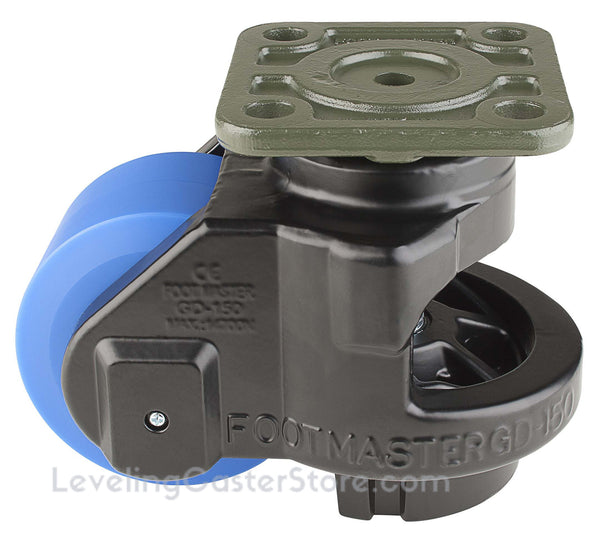"Leveling Casters | FootMaster GD-150F-BLK | Top Plate Mount with 3-3/4"" Wheel & 3,300 Lb Capacity"