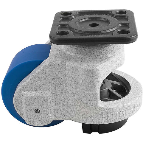"Leveling Casters | FootMaster GD-150F | Top Plate Mount with 3-3/4"" Wheel & 3,300 Lb Capacity"