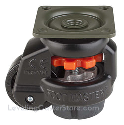 "Leveling Caster | FootMaster GD-40F-BLK | Top Plate Mount with 1-5/8"" Wheel & 110 Lb Capacity"