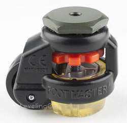 "Leveling Caster | FootMaster GD-40S-BLK-UP | 8mm Threaded Stem Mount with 1-5/8"" Wheel, Polyurethane Pad & 110 Lb Capacity"