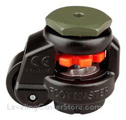 "Leveling Caster | FootMaster GD-40S-BLK-3/8 (Black) 3/8"" Threaded Stem Mount with 1-5/8"" Wheel & 110 Lb Capacity"