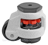"Leveling Caster | FootMaster GD-40S-3/8-UP | 3/8"" Threaded Stem Mount with 1-5/8"" Wheel, Rubber Pad & 110 Lb Capacity"
