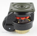 "Leveling Casters | FootMaster GD-60F-BLK-UP | Top Plate Mount with 2"" Wheel, Poly Pad & 550 Lb Capacity"