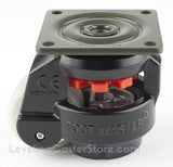 "Leveling Casters | FootMaster GD-60F-BLK-UW | Top Plate Mount with 2"" Poly Wheel & 550 Lb Capacity"