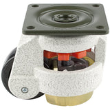 "Leveling Casters | FootMaster GD-60F-UP | Top Plate Mount with 2"" Wheel, Poly Pad & 550 Lb Capacity"